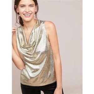 Anthropologie Sunday in Brooklyn Top Gold Small